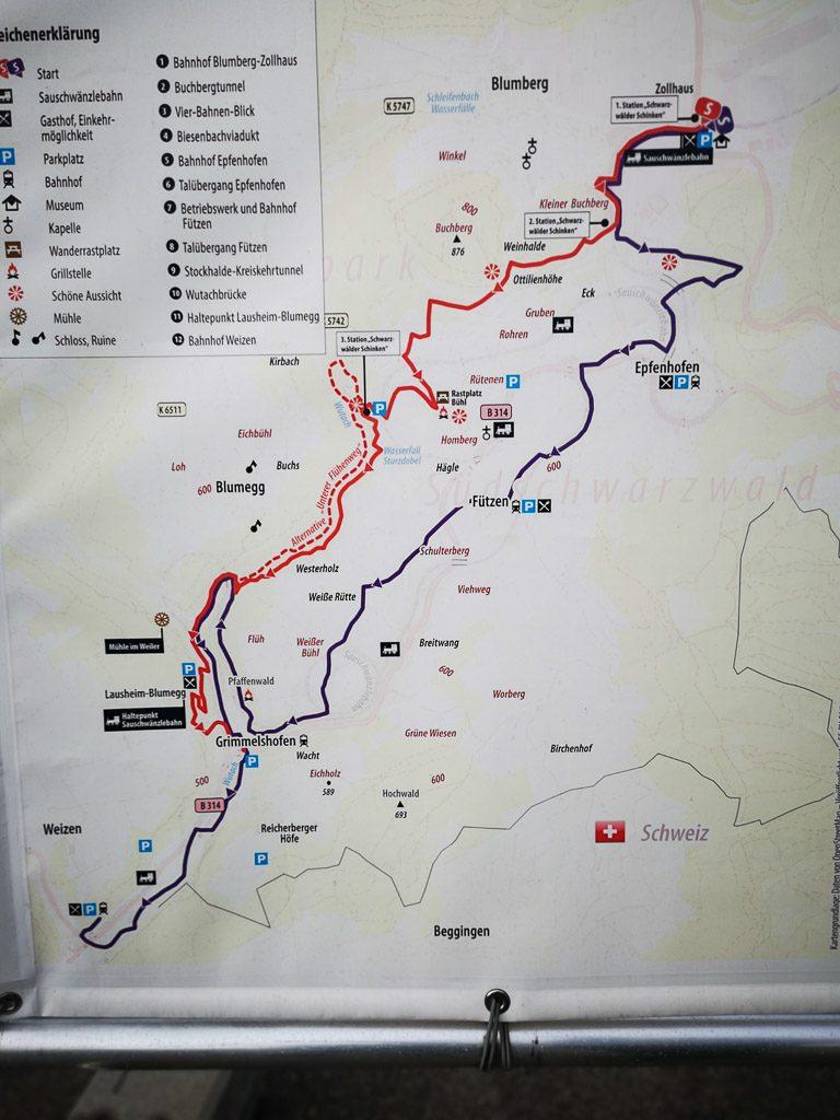 Wanderkarte & Wandertouren entlang der Sauschwänzlebahn