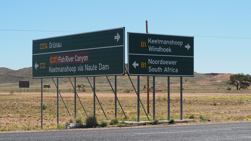 Roadsigns in Namibia