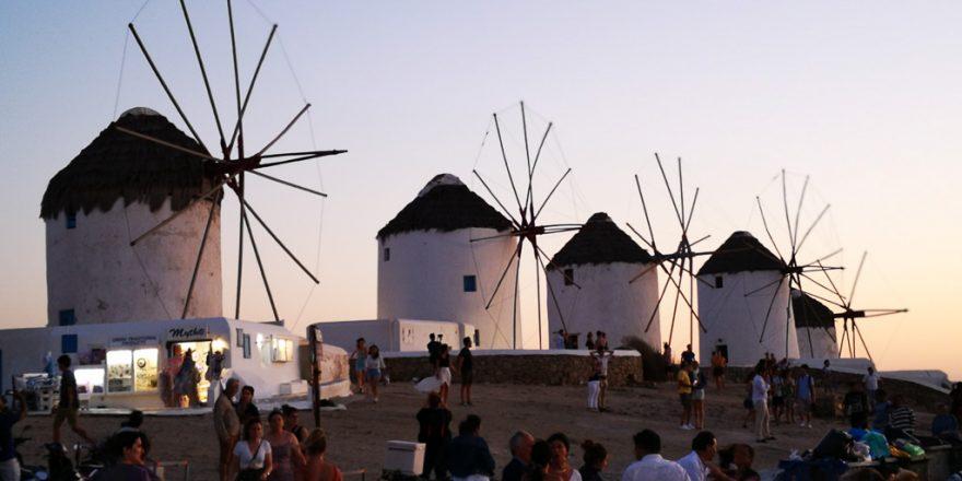 Die Windmühlen in Mykonos Stadt
