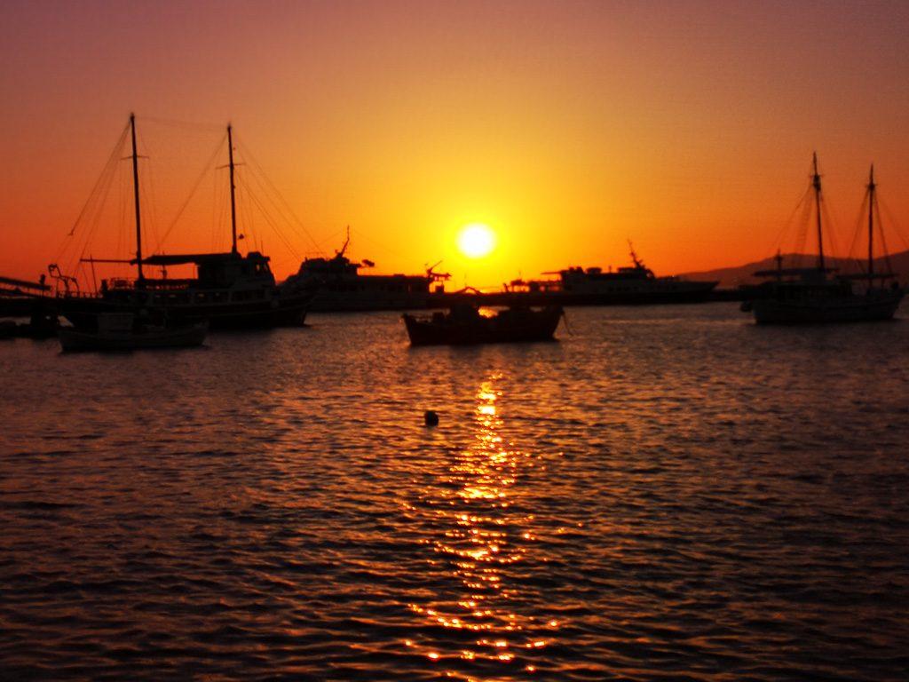 Sonnenuntergang am alten Hafen Mykonos