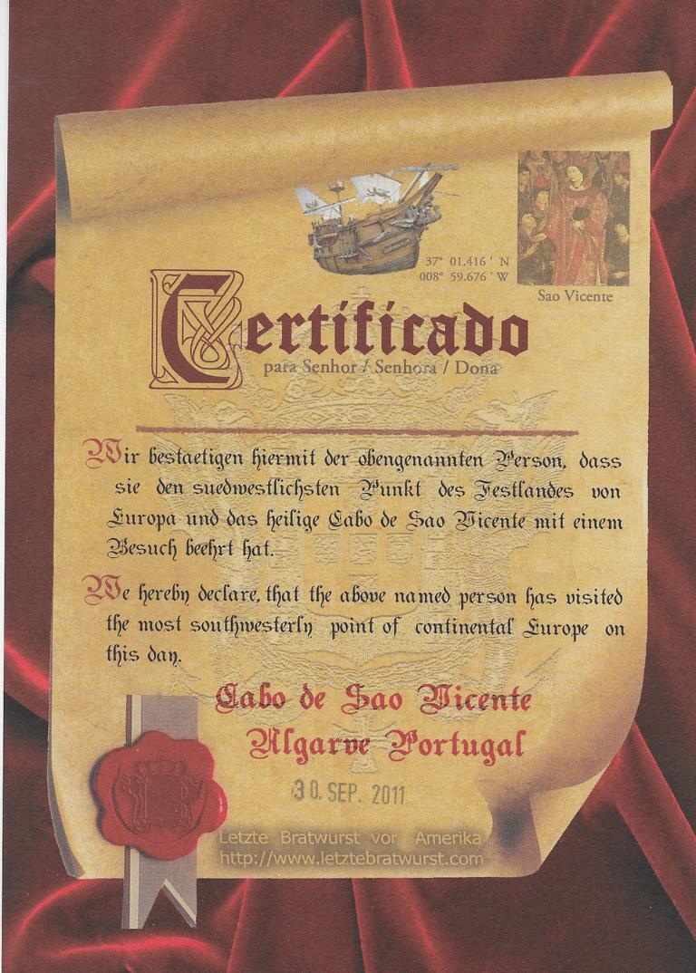Zertifikat für die letzte Bratwurst vor Amerika an der Algarve - Portugal