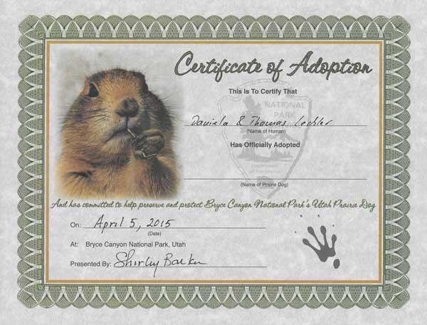Reiseblogger Lechler Adoptionsurkunde Bryce Canyon Natural History Association