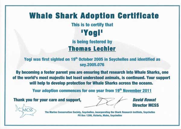 Reiseblogger Lechler Adoptionsurkunde Marine Conservation Society Seychelles